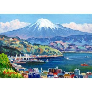 油彩画 洋画 肉筆絵画 ( 油絵額縁付きで納品対応可 ) M15号サイズ 「清水港より富士」 羽沢 清水|touo
