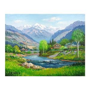 絵画 油絵 肉筆絵画 壁掛け ( 油絵額縁 アートフレーム付きで納品対応可 ) M4号サイズ 「飛騨高山」 羽沢 清水 touo