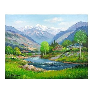 油彩画 洋画 肉筆絵画 ( 油絵額縁付きで納品対応可 ) WF6サイズ 「飛騨高山」 羽沢 清水|touo