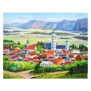 油彩画 洋画 肉筆絵画 ( 油絵額縁付きで納品対応可 ) M15号サイズ 「オーストリア クレムス」 羽沢 清水|touo