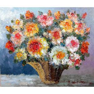 絵画 油絵 肉筆絵画 壁掛け ( 油絵額縁 アートフレーム付きで納品対応可 ) F10号サイズ 「薔薇(かご)横」 渡部 ひでき|touo