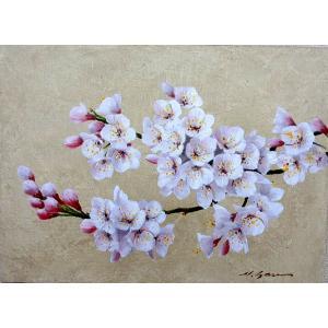 絵画 油絵 肉筆絵画 壁掛け ( 油絵額縁 アートフレーム付きで納品対応可 ) M8号サイズ 「桜」 安田 英明|touo