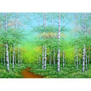 絵画 油絵 肉筆絵画 壁掛け ( 油絵額縁 アートフレーム付きで納品対応可 ) P3号サイズ 「白樺」 吉田 敏之|touo