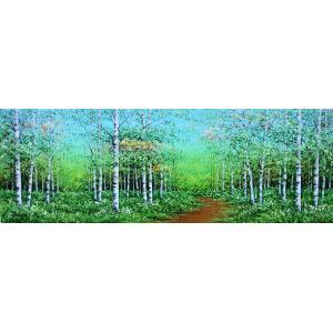 絵画 油絵 肉筆絵画 壁掛け ( 油絵額縁 アートフレーム付きで納品対応可 ) WSMサイズ 「白樺」 吉田 敏之|touo