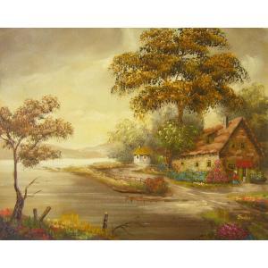 ヨーロッパ絵画 油絵 肉筆絵画 壁掛け (額縁 アートフレーム付きで納品対応可) サイズF6号 イエラー作 「風景」|touo