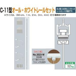 額縁 美術金具 額吊レール ピクチャーレール C-11型オール・ホワイトレール天井用セット 3523-W|touo