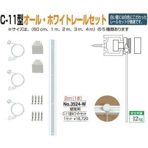 額縁 美術金具 額吊レール ピクチャーレール C-11型オール・ホワイトレール壁面用セット 3524-W|touo