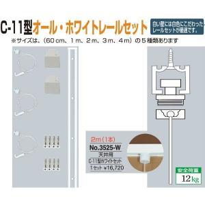 額縁 美術金具 額吊レール ピクチャーレール C-11型オール・ホワイトレール天井用セット 3525-W|touo