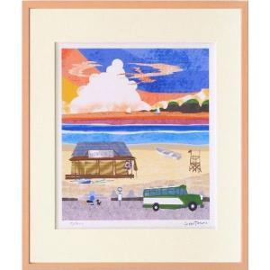 版画 リトグラフ ピエゾグラフ はりたつお作 「夕暮れの浜辺」 四ッ切サイズ|touo