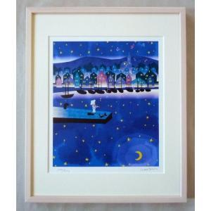 版画 リトグラフ ピエゾグラフ はりたつお作 「夜の港町」 四ッ切サイズ|touo