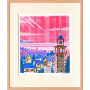 版画 リトグラフ ピエゾグラフ はりたつお作 「鐘つきの塔」 四ッ切サイズ|touo
