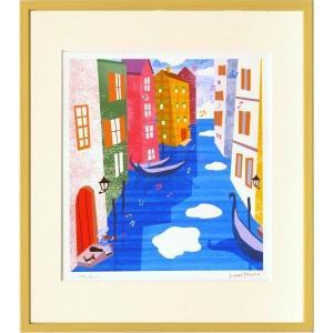 版画 リトグラフ ピエゾグラフ はりたつお作 「ヴェネチアとその湯(イタリア)」 四っ切|touo