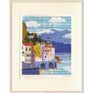版画 リトグラフ ピエゾグラフ はりたつお作 「アマルフィ海岸(イタリア)」 四っ切|touo