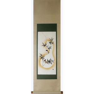掛け軸 掛軸 純国産掛け軸 床の間 花鳥画 年中掛け 「竹に雀」 奥田拓也作 小幅立物 桐箱付|touo