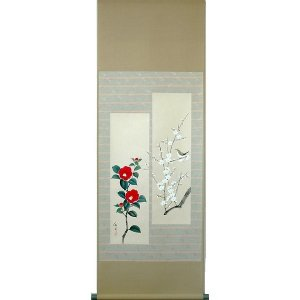 掛け軸 掛軸 純国産掛け軸 床の間 季節画 「白梅に紅椿」 大野紅節作 小幅立物 桐箱付|touo