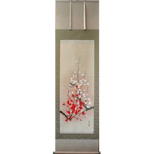 掛け軸 掛軸 純国産掛け軸 床の間 季節画 「紅白梅に鶯」 大野紅節作 尺五 桐箱付|touo