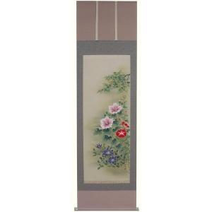 掛け軸 掛軸 純国産掛け軸 床の間 季節画 「夏の三花」 奥田拓也作 尺五 桐箱付|touo
