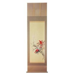 掛け軸 掛軸 純国産掛け軸 床の間 季節画 「早春三花」久芳白映作 尺五 桐箱付|touo