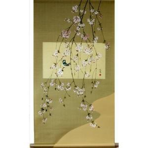 掛け軸 掛軸 純国産掛け軸 床の間 季節画 「枝垂桜」 大野紅節作 尺五横 桐箱付|touo