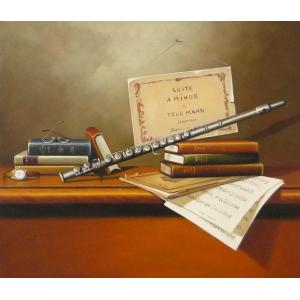 絵画 油絵 肉筆絵画 壁掛け ( 油絵額縁 アートフレーム付きで納品対応可 ) F12号サイズ 「楽器生物10」|touo