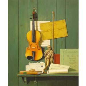 絵画 油絵 肉筆絵画 壁掛け ( 油絵額縁 アートフレーム付きで納品対応可 ) F12号サイズ 「楽器生物5」|touo