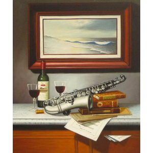 絵画 油絵 肉筆絵画 壁掛け ( 油絵額縁 アートフレーム付きで納品対応可 ) F12号サイズ 「楽器生物6」|touo
