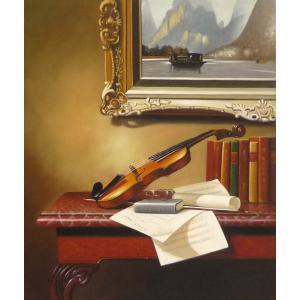 絵画 油絵 肉筆絵画 壁掛け ( 油絵額縁 アートフレーム付きで納品対応可 ) F12号サイズ 「楽器生物7」|touo