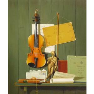 絵画 油絵 肉筆絵画 壁掛け ( 油絵額縁 アートフレーム付きで納品対応可 ) F12号サイズ 「楽器生物8」|touo