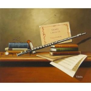絵画 油絵 肉筆絵画 壁掛け ( 油絵額縁 アートフレーム付きで納品対応可 ) F12号サイズ 「楽器生物9」|touo