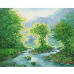 絵画 油絵 肉筆絵画 壁掛け ( 油絵額縁 アートフレーム付きで納品対応可 ) F20号サイズ 「高級日本風景23」 touo