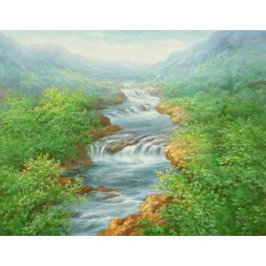 絵画 油絵 肉筆絵画 壁掛け ( 油絵額縁 アートフレーム付きで納品対応可 ) F20号サイズ 「高級日本風景25」 touo