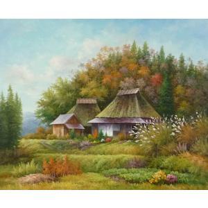 絵画 油絵 肉筆絵画 壁掛け ( 油絵額縁 アートフレーム付きで納品対応可 ) F20号サイズ 「農村風景26」 touo