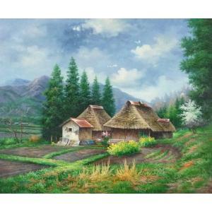 絵画 油絵 肉筆絵画 壁掛け ( 油絵額縁 アートフレーム付きで納品対応可 ) F20号サイズ 「農村風景27」 touo