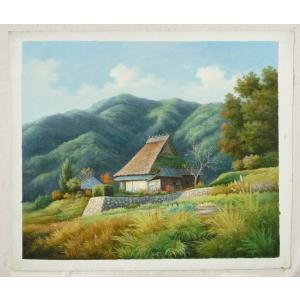 絵画 油絵 肉筆絵画 壁掛け ( 油絵額縁 アートフレーム付きで納品対応可 ) F20号サイズ 「農村風景28」 touo