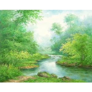 絵画 油絵 肉筆絵画 壁掛け ( 油絵額縁 アートフレーム付きで納品対応可 ) F20号サイズ 「高級日本風景8」 touo