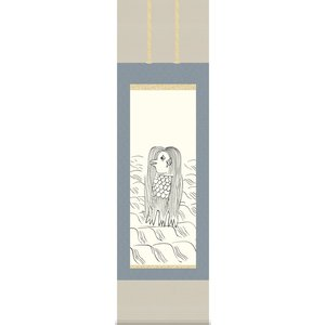 掛け軸 日本画掛軸 ミニかるJIKU 「アマビエ」 15X53cm|touo