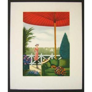 ヨーロッパ版画 リトグラフ ボネック GINETTE AU PAYS 37X45cm|touo