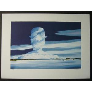 ヨーロッパ版画 リトグラフ ドノエル「雲」 54X75cm|touo