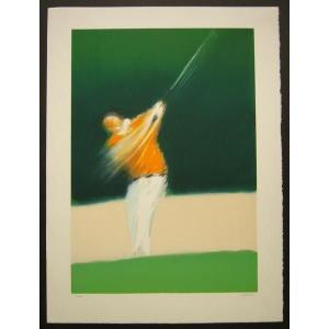 ヨーロッパ版画 リトグラフ デュトルロー 「ゴルファー」 557X753mm|touo