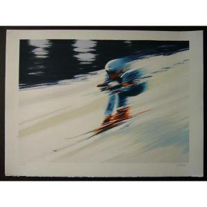 ヨーロッパ版画 リトグラフ デュトルロー「スキー」 560X750mm|touo