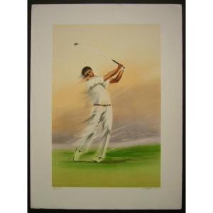 ヨーロッパ版画 リトグラフ フィルノ 「ゴルファー」 557X753mm|touo