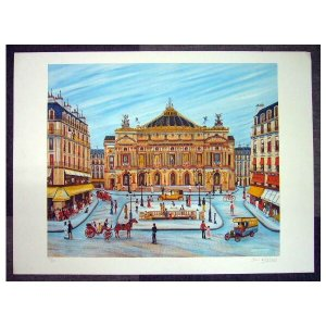 ヨーロッパ版画 リトグラフ ガンドレ 「オペラハウス」 55X75cm|touo