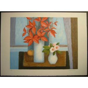 ヨーロッパ版画 リトグラフ ラヴァーニア 「花束:オレンジ」 55X75cm|touo
