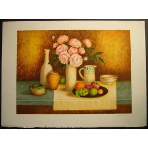 ヨーロッパ版画 リトグラフ ラヴァーニア 「花束:ピンク」 55X75cm|touo
