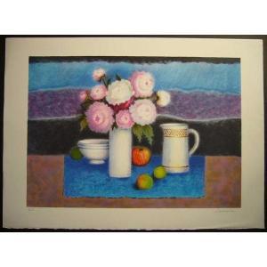 ヨーロッパ版画 リトグラフ ラヴァーニア 「花束:白・ピンク」 55X75cm|touo