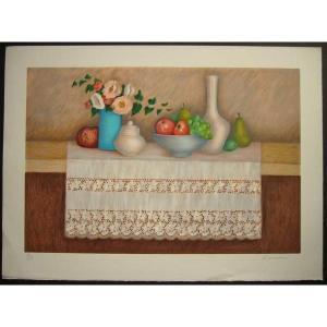 ヨーロッパ版画 リトグラフ ラヴァーニア 「白いテーブルクロス」 55X75cm|touo