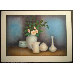 ヨーロッパ版画 リトグラフ ラヴァーニア 「ピンクの花束」 55X75cm|touo