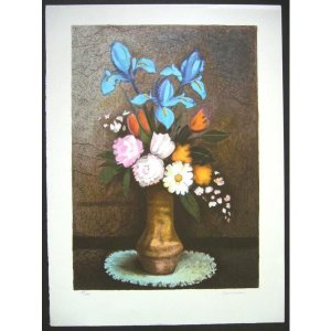 ヨーロッパ版画 リトグラフ ラヴァーニア 「花瓶の花束」 55X75cm|touo