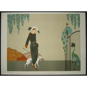 ヨーロッパ版画 リトグラフ ニナ ローズ「散歩」 55X75cm|touo