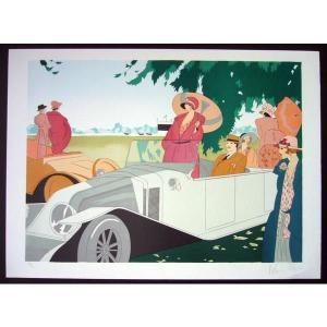ヨーロッパ版画 リトグラフ ニナ ローズ「競馬」 55X75.5cm|touo